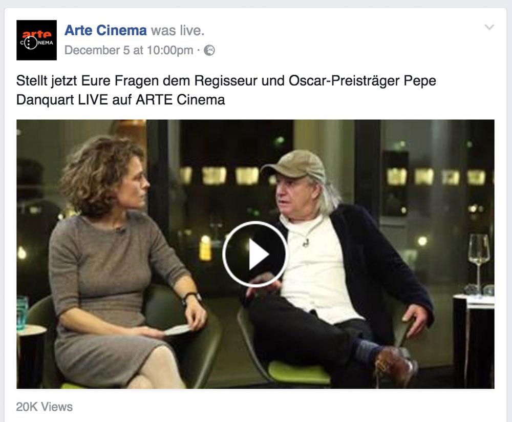 Erst der Film, dann der Stream: Pepe Danquart im Live-Interview bei Arte