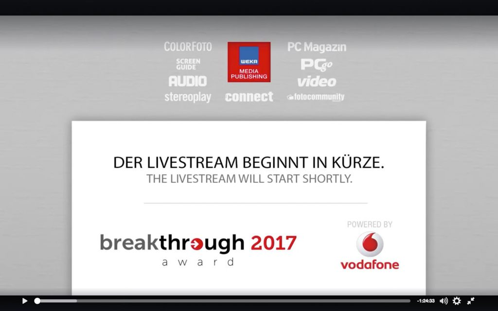 Der Breakthrough 2017 Award im Livestream bei Facebook