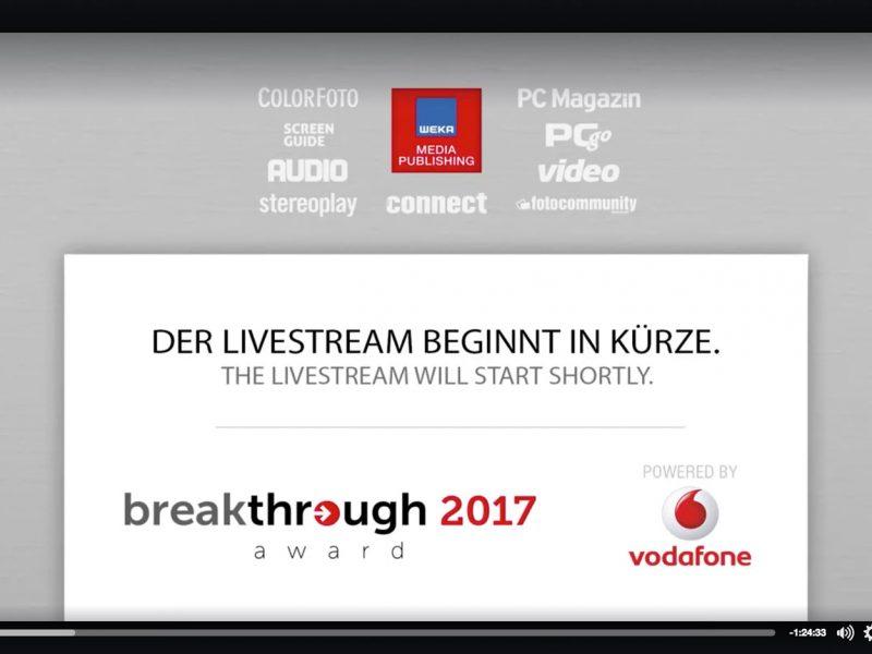 Übertragung des Breakthrough 2017 Award von Vodafone und Connect