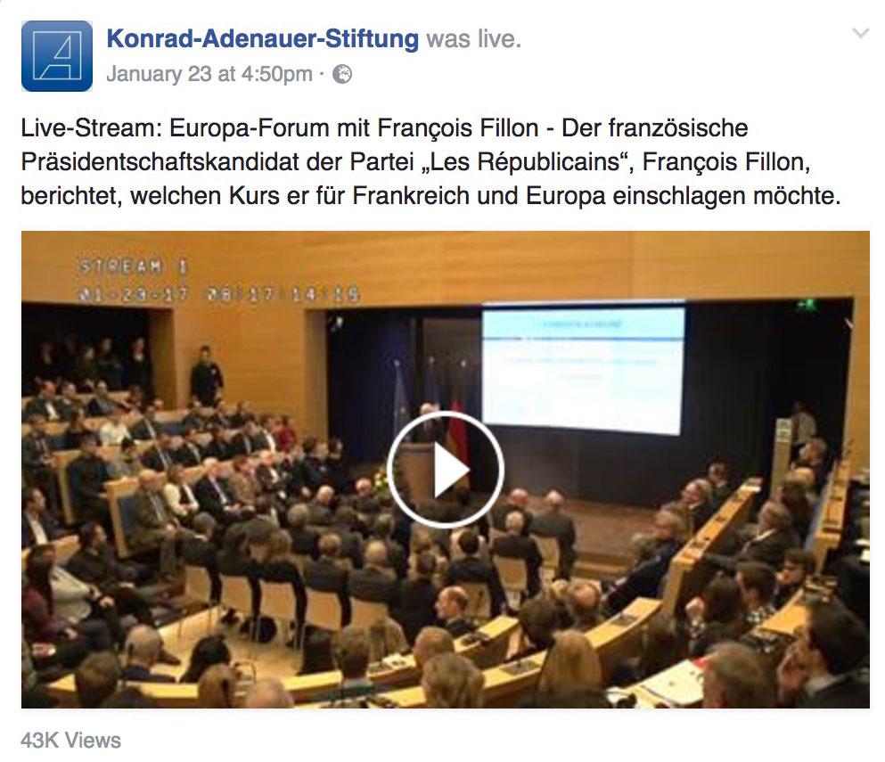 Facebook-Livestream vom Europa Forum mit François Fillon