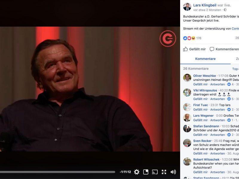 Gerhard Schröder und Lars Klingbeil im Contentflow-Livestream