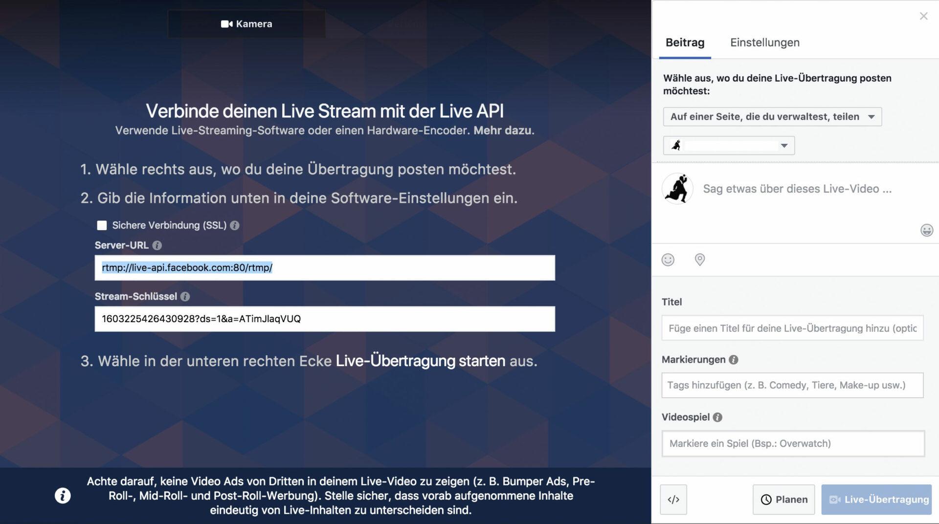 Contentflow Livestream bei Facebook