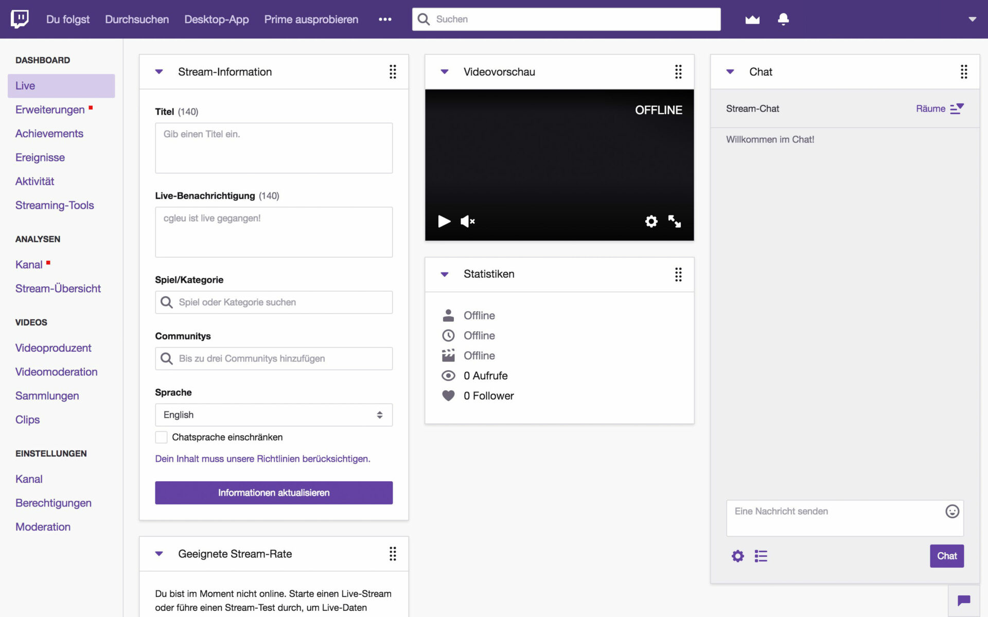 Contentflow-Livestream bei Twitch