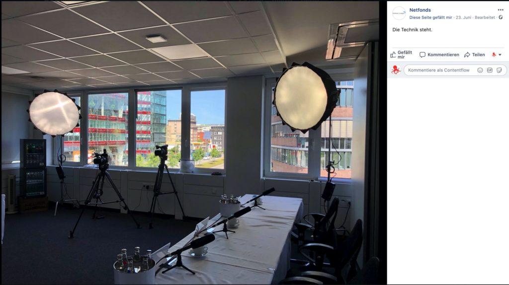 Eine virtuelle Hauptversammlung mit einem Livestream, hier die Netfonds AG aus Hamburg