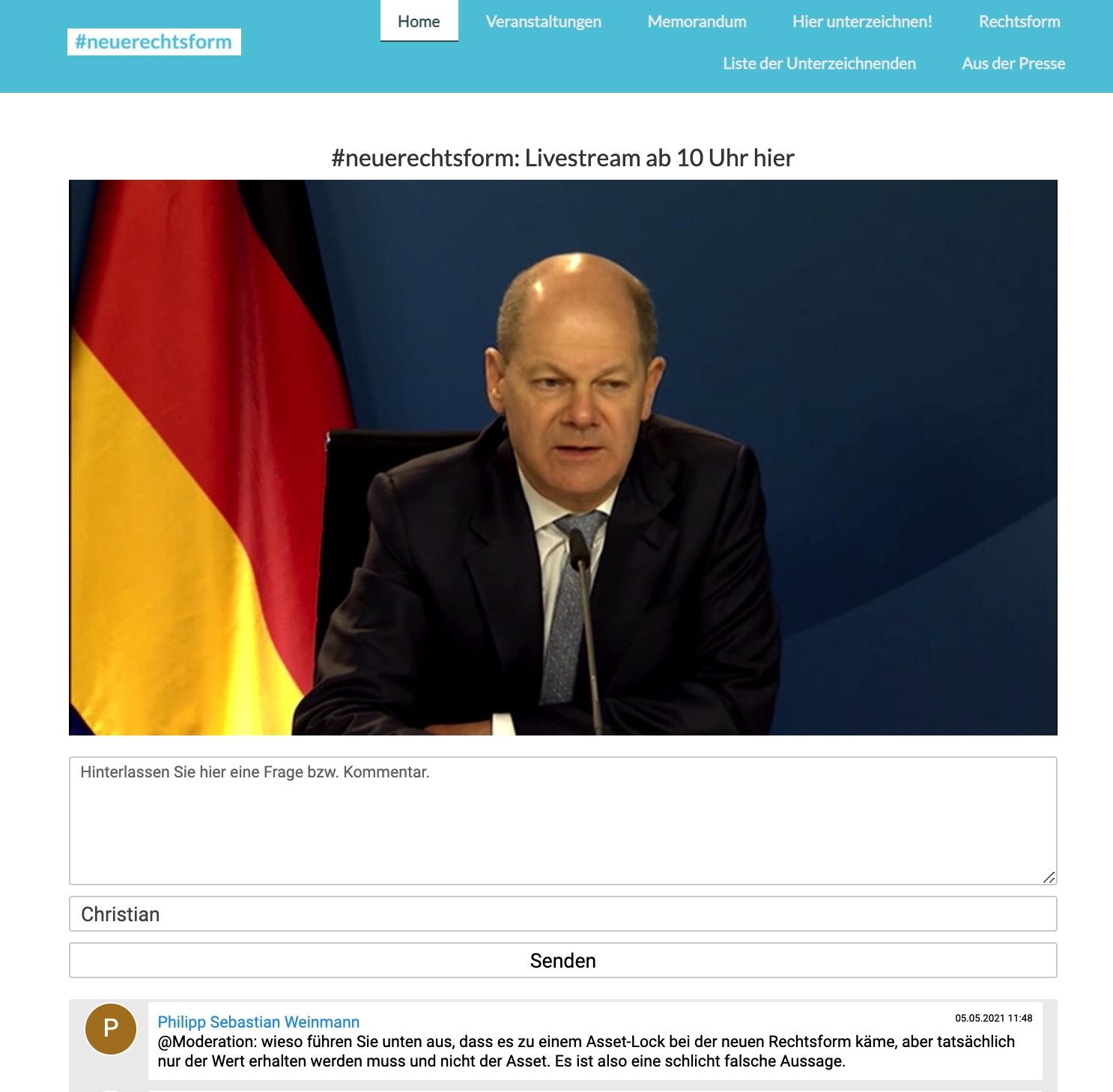 Politik und Wirtschaft diskutieren über Bedarf einer neuen Rechtsform im Livestream